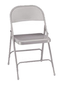 Portable folding chair with white metal frame
