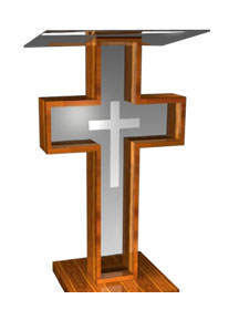 Cross-shaped pulpit with wooden frame, plexiglass interior, and plexiglass top