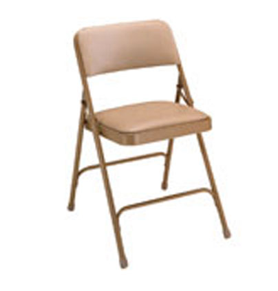 Beige folding chair with metal frame and vinyl upholstery