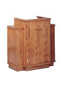 Red oak Wing Pulpit featuring decorative wings on each side