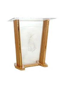 Red oak Evangel Pulpit with acrylic front and top