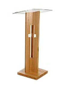 Narrow wooden Teacher Pulpit featuring lightweight design that is easy to move
