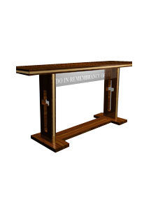 "Tribute wooden communion table made of solid oak with brass trim and a ⅜"" acrylic face"