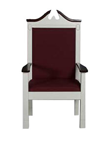 Model 820 colonial two-tone style pulpit chair with red fabric