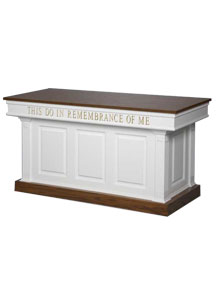 Two-tone colonial style wooden communion table with this do in remembrance of Me wording