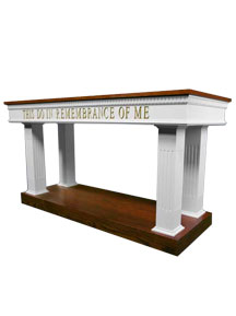 Open-style communion table with colonial two-tone colors featuring this do in remembrance of Me wording