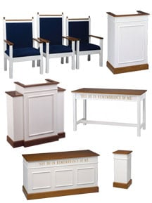 Colonial two-tone matching pulpit set featuring pulpit chairs, lectern, communion tables, winged pulpit, and flower stand
