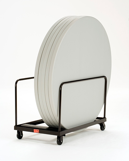 White round folding tables loaded onto a hand truck