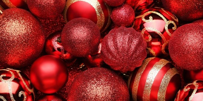 Assorted red Christmas ornaments