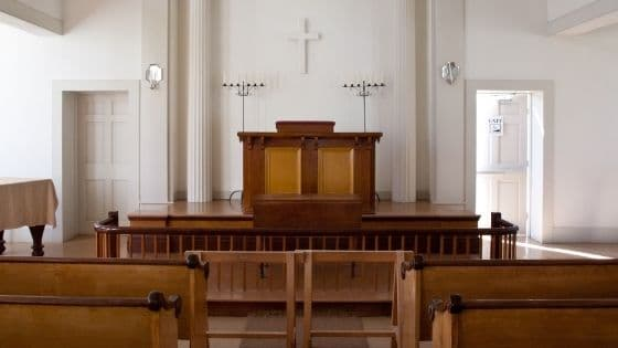 A fully furnished church sanctuary