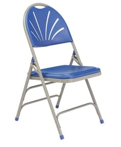 Blue folding Fanback chair side view